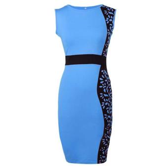 Sunwonder ACEVOG Women O-Neck Sleeveless Print High Waist Bodycon Slim Pencil Dress ( Blue ) - intl
