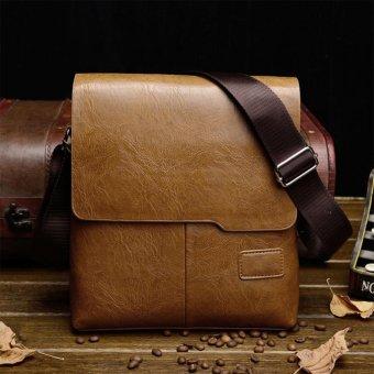 Moonar Men's Casual PU Leather Crossbody Bag Business Cowhide Waterproof Messenger Shoulder Sling Bag (Khaki) - intl