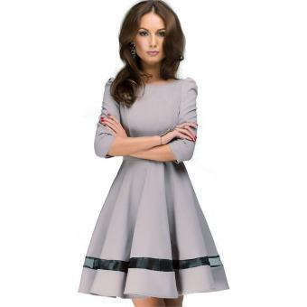 Women Lace Color Matching Long Sleeve Dress Khaki - intl