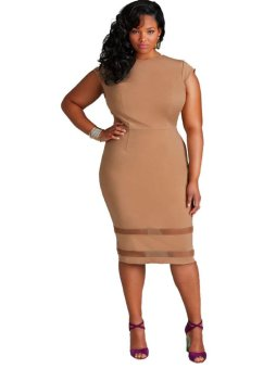 Plus Size Fashion Sleeveless Women Clothing Casual Solid Mesh Patchwork Summer Dress Sexy Package Hip Dress - intl