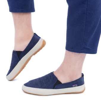 Male Casual Pure Color Slip On Canvas Shoes(Blue) - intl