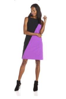 Áo đầm đen/tím cao cấp nữ Nine West Women's Color-Block Dress (Mỹ)