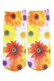 Bluelans Unisex Fashion 3D Flower Printed Patterns Anklet Socks Hosiery 1 Pair (Intl)