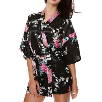 Moonar Sexy Women Silk Print Kimono Gown Half Sleeve Sleepwear Cardigan Bath Robe ( Black ) - intl