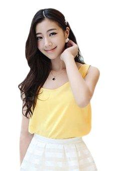 Sunweb Sleeveless Chiffon T-shirt (Yellow) - intl