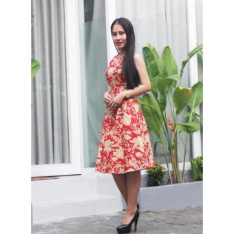 Đầm họa tiết hoa đỏ Cocoxi 17DT46HVD