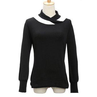 Women Long Puff Sleeve Cotton Turtleneck Casual Top T-Shirt Blouse (Black) - Intl
