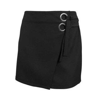 Hot Sexy Womens Skirt High Waist Package Hip Skirt Bodycon Skirt Cross Strap Open Fork Hem Skirt - intl