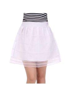 Cyber Women Lace Skirt Korean Style Solid Organza Mini Skirt (White) - intl