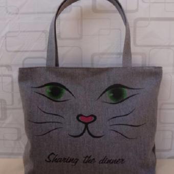 Túi Vải Tote Họa Tiết Mặt Mèo Xinh Store
