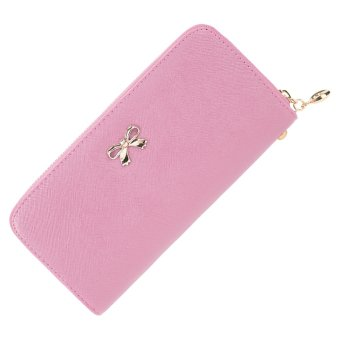 Cyber Women Fashion Synthetic Leather Zip Around Solid Purse Credit ID Card Holder Long Clutch Wallet with Wrist Strap (Pink) - Intl