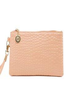 HKS Women Fashion Leather Wallet Zip Around Case Purse Long Handbag Bag (Pink) - intl