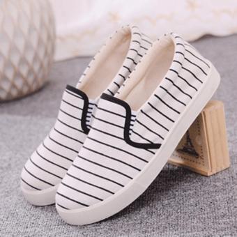 Giày nữ sọc sọc thon gọn cho đôi chân - 176 (Trắng)