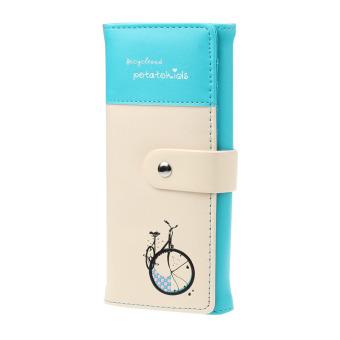 Women Clutch Card Holder Money Clip Change Wallet Blue