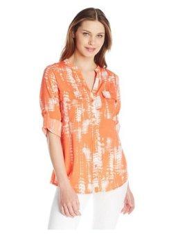 Áo sơ mi dài tay nữ cao cấp Calvin Klein Women's Printed Roll Sleeve, Ember Multi (Mỹ)