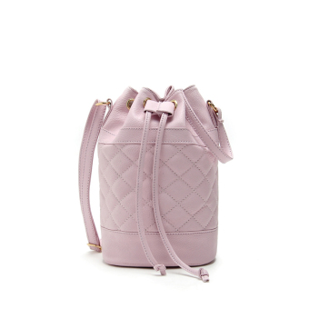 Women Quilted Handbag Bucket Shoulder Messenger Bag Tote Satchel Light Purple - Intl