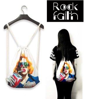 ZAFUL Women's drawstring backpack printing travel softback tote bag backpack bag 1# - intl