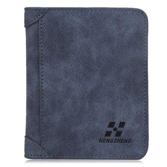 Solid Color Dull Polish Open Vertical Wallet Men(Blue) - intl
