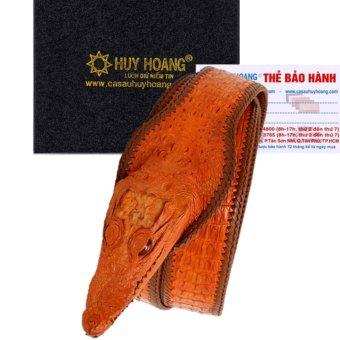 HL4254 - Dây nịt nam Huy Hoàng nguyên con lớn đầu cá sấu màu vàng