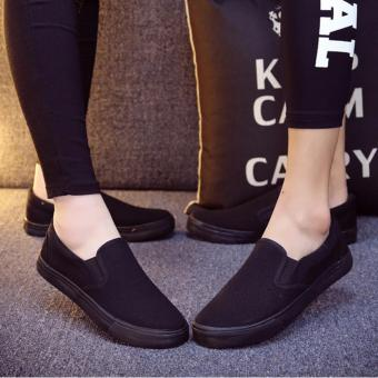 GIÀY SLIP-ON COUPLE VẢI COTTON ĐEN - MSP 2737