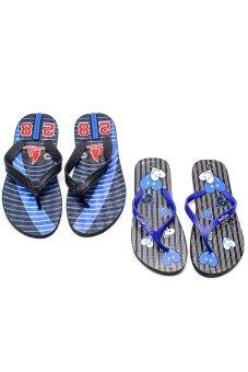 Bộ 2 đôi dép kẹp nam nữ HUỲNH TIÊN HTDNN-008 (Xanh và đen)
