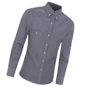 2016 New High Quality Arrival Shirt Men Work Shirt Casual Shirt Long Sleeve Fashion Slim Shirts Mens Clothes(deep grey) - intl