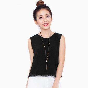 Áo Phối Ren Lai Xếp Ly (Đen) - A04916060