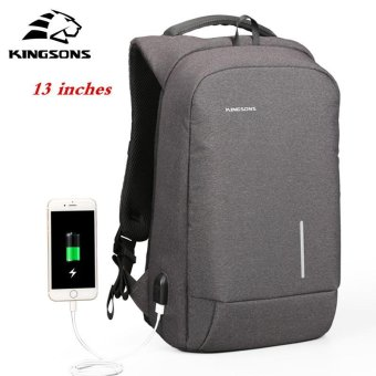 Kingsons 13'' External USB Charging Backpacks School Backpack Bag Laptop Computer Bags Men's Women's Travel Bags Business Bags (Black) - intl