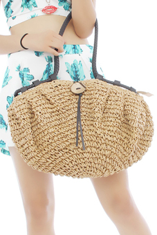 LALANG Women Retro Shoulder Bag Big Coconut Buttons Light Coffee