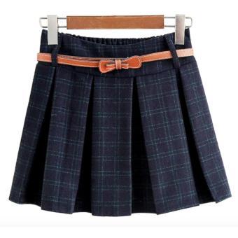 Chân váy ngắn nữ xếp li sọc carô thắt dây nịt LTTA85