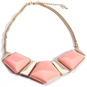 Women Candy Color Spliced Necklace Pink - Intl
