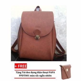 Balo laptop PAPA PPB001 (Bò Đậm) + Túi đeo đựng điện thoại PAPA PPDT001