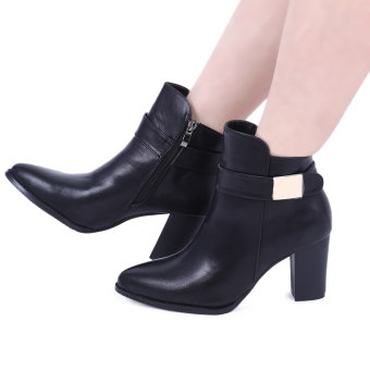Stylish Pointed Toe Zipper Design Ladies Thick Heel Leather Ankle Boots(Black) - intl