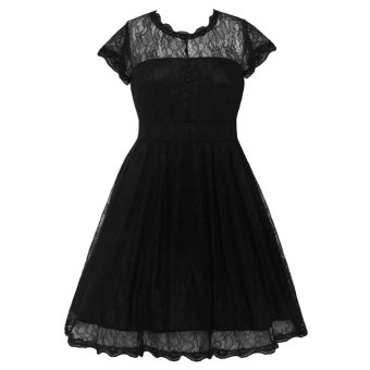 Women Lady Vintage Elegant Sexy Lace Design Dress Gown with Short Sleeve for Party Daily Wear Black XXL - intl