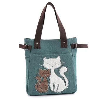 Cute Cat Print Beaded Zippered Women Canvas Handbag