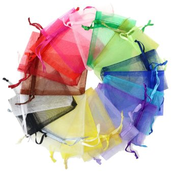 100 PCS Reusable Elegant Organza Drawstring Candy Favor Bags Pouches for Wedding Party Festival Gift Jewelry Daily Cosmetic 4 x 6 inch Multi Color - intl