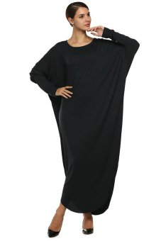 Cyber ANGVNS Women Muslimah Wear Dresses Batwing Jersey Long Maxi Dress (Black) - Intl