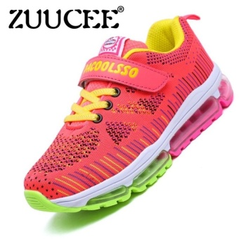 Boys Fashion Breathable Flying Weaving Gas Pad Shoesoutdoor Sports Running Shoes Sneaker (Rose) - intl