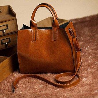 2017 New Pu Leather Bags Handbags Women Famous Brands Big Women Crossbody Bag (Brown) - intl