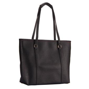Simple Pure Color Elegant Large Capacity Handbag Shoulder Bag Black (Intl)