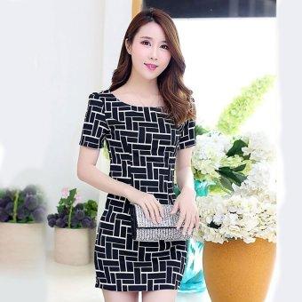 Đầm suông công sở họa tiết nổi bật Lady shop V010 (Đen)