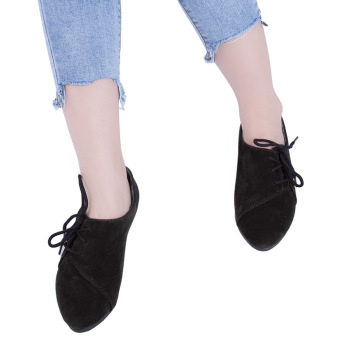 Pure Color Lace Up Round Toe Suede Flat Shoes(Black) - intl