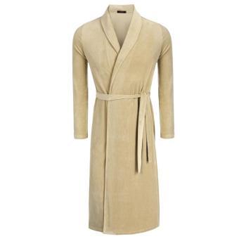Sunwonder Avildlove Fashion Men's Robe Kimono Collar Bathrobe Long Sleepwear (Coffee) - intl