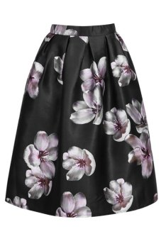 Flower Pleated Skirt (Black)