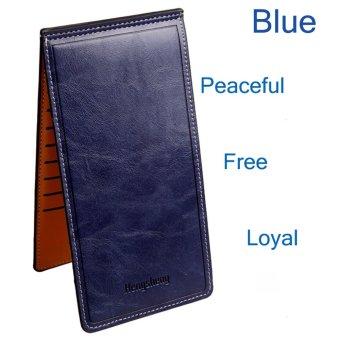 Solid Color Zipper Hasp Design Thin Long Wallet(Deep blue) - intl