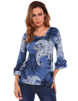Cyber Women 3/4 Flare Sleeve Ruffled Floral Blouse Top ( Dark Blue ) - intl