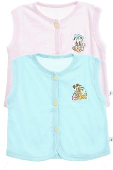 Bộ 2 áo khỉ thêu trẻ em Nanio A0003-Hxn (Hồng Xanh Nhạt)