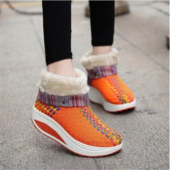 LALANG Women Ankle Breathable Casual Shoes Shake Wedge Snow Boots Orange - intl
