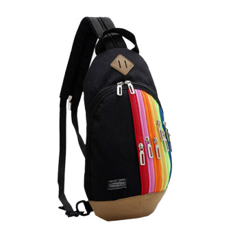 Fashion Rainbow Zip Designed Chest Bag Backpack Dual Use (Black) - Intl