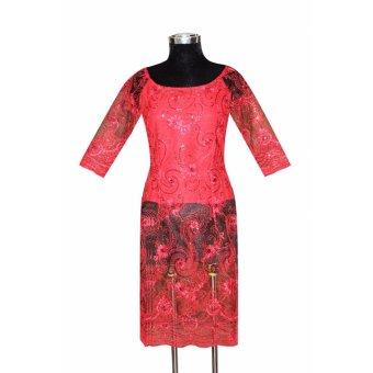 Áo dài cách tân ren thêu đính kim sa tay lửng Tri Lan AD013 (Đỏ)